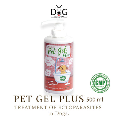 [Dog Premium] Pet Gel Plus Shampoo 500ml (for Ectoparasites; Ticks, Fleas, Mites, Lice and more)