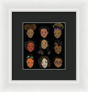Little Sisters Black - Framed Print