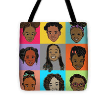 "Load image into Gallery viewer, ""Little Sisters"" Big-Face Tote Bag"
