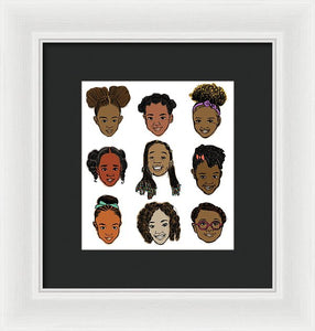 Little Sisters White - Framed Print
