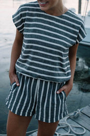 Casual Striped Keyhole Back Pocket One-piece Rompers