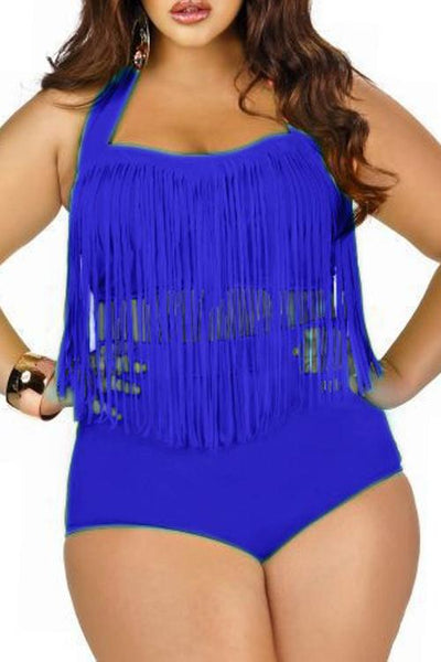 Halter Tassel Plus Size Swimwear Set