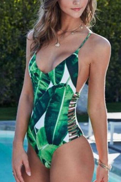 Leaves Print One Piece Tankini