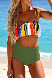 High Leg Colorful  Striped Strap Bikini Set