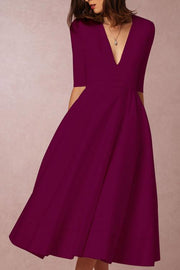 V Neck Half Sleeve Solid Dress