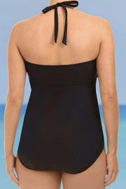 Plus Size One Piece Halter Neck Swimwear