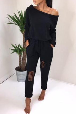Chic Off Shoulder Ripped Jumpsuit