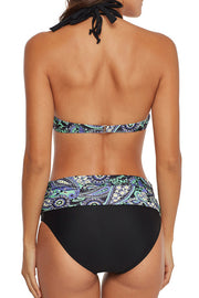 Print Splicing Push Up Bikini