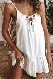 Front Lace-up Ruffle Edges Slip Dress