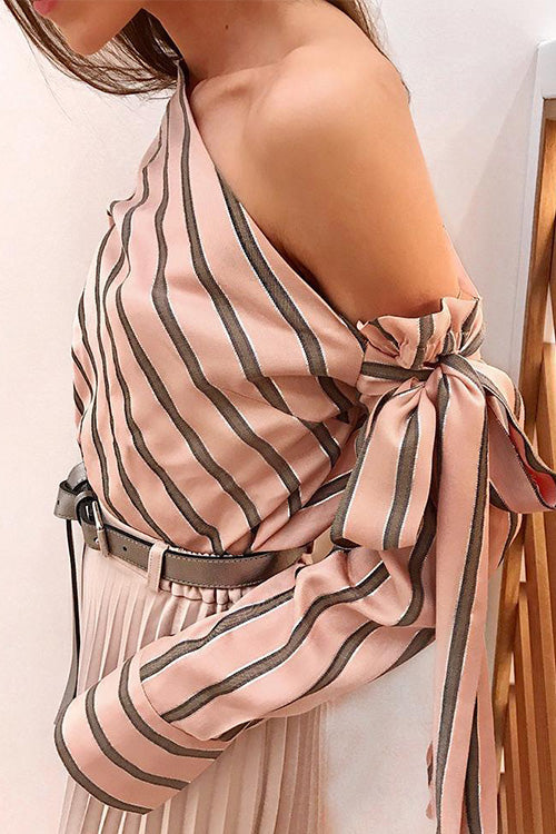 Chic Skew Neck Stripe Blouse