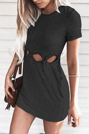 Chic Waist Hollow-out Design Casual Dress