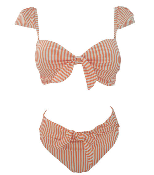 Stripe Back Lace-up Bow-tie Bikini