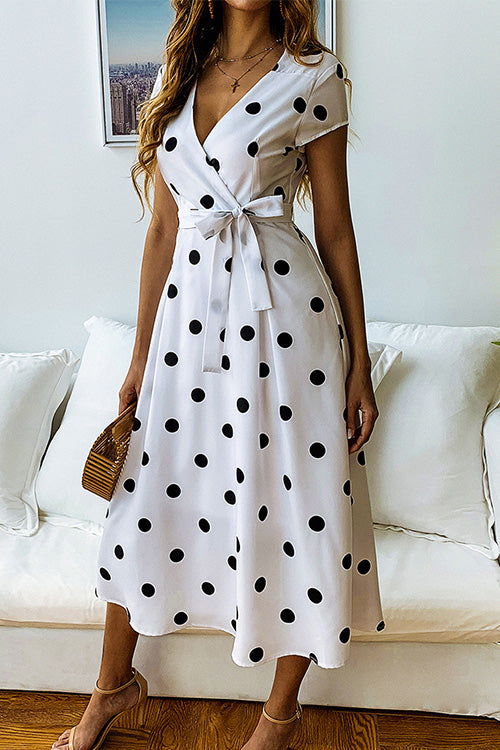 Surplice Polka Dot Bow-tie Dress