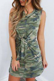 Camo Front Adjustable Belt Dress