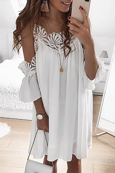 Cold Shoulder Lacework Splicing Dress