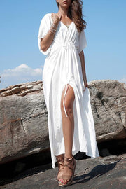 Flare Sleeves Button Down Maxi Robe & Cover Up