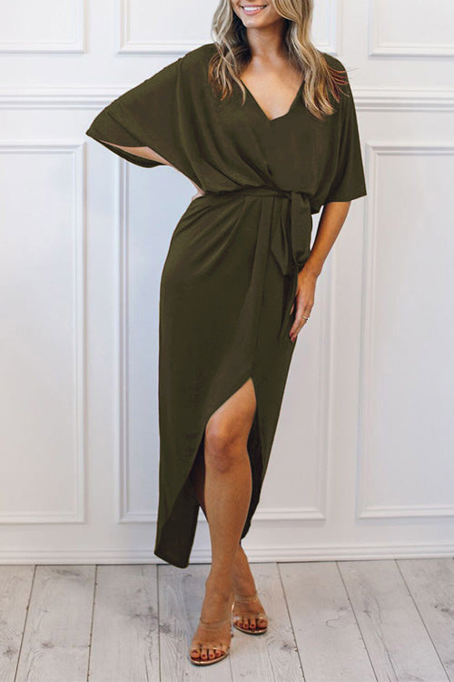 V Neck Belted Slit Dress