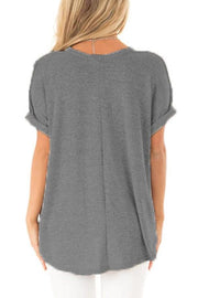 Cut-out Curling cuffs Ruched Design Tee
