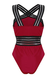 Ladder Cross Strap Mesh Insert Tankini