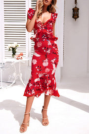 Elegant Flower Print Ruffles Dress