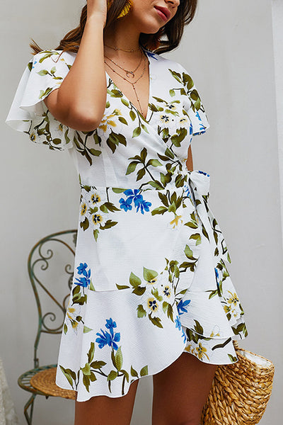 Floral Print Ruffles Side Lace-up Dress