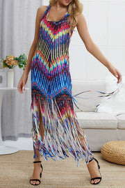 Tassels Colorful Print Maxi Dress
