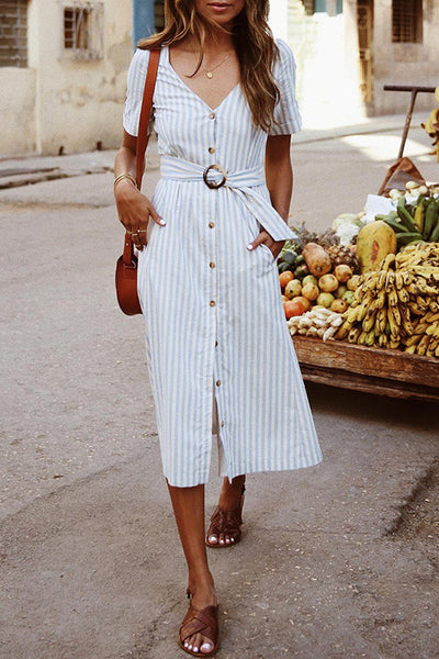 Trendy Belted Button Down Dress