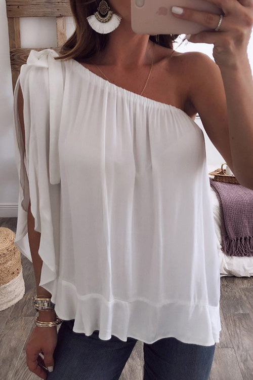 Chiffon One Shoulder T-shirt