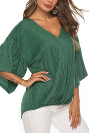 Surplice Design Flare Sleeves T-shirt