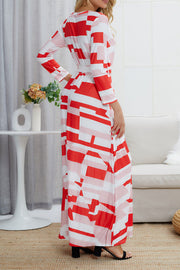 Abstract Print Belted Dress