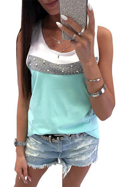 Rhinestone Color Matching Vest