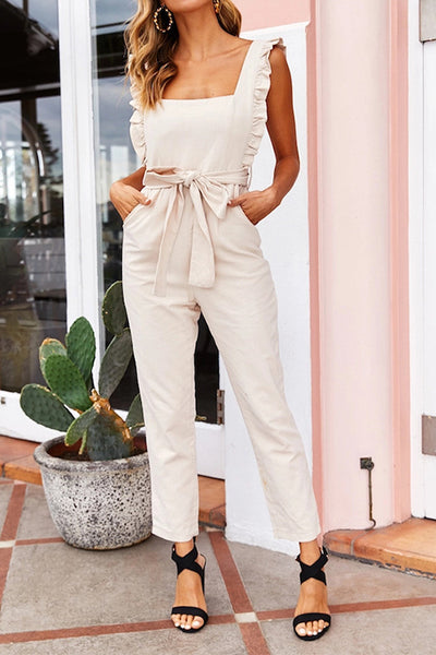 Ruffle Edges Belted Jumpsuit