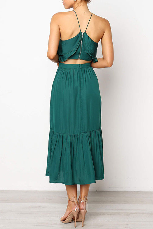 Backless Ruffle Layared Two-piece Dress