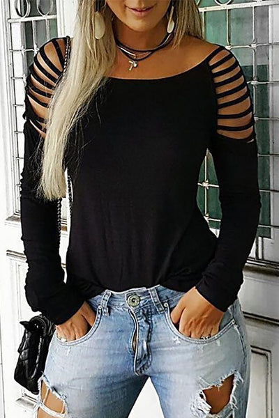 Chic Ladder Straps Boat Neck T-shirt