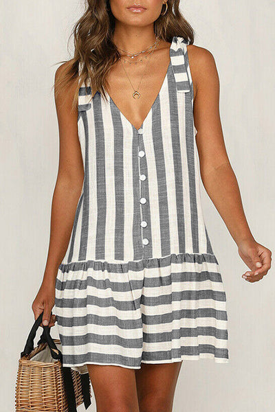 Stripe Buttoned Splicing Dress