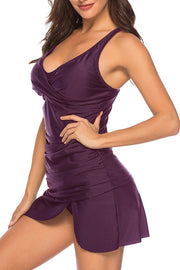 Stylish Ruched Slit Two-piece Tankini