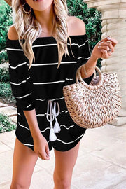 Stripe Off Shoulder Elastic Waist Romper