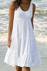 U Neck Tiered Dress