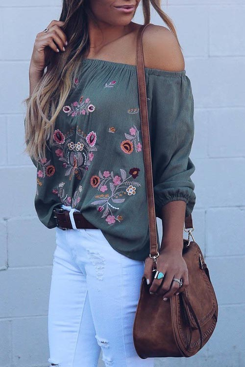 Stylish Embroidered Off Shoulder Blouse
