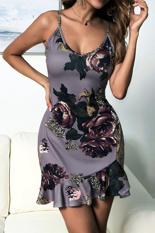 Floral Print Ruffle Sling Dress