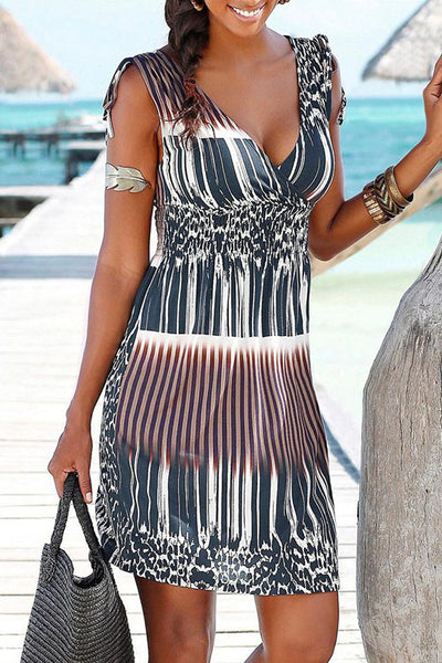 V-Neck Printed Elastic Waist Dress