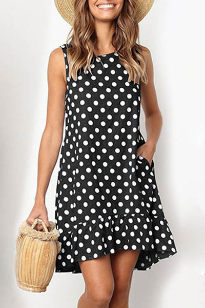 Polka Dot Ruffled Sleeveless Dress