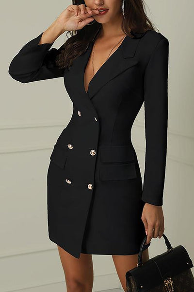 V-Neck Double Breasted Blazer Dress