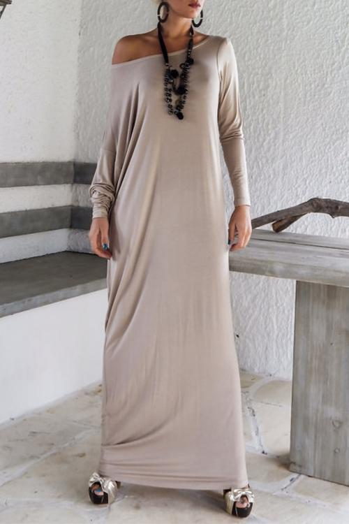 Crew Neck Tunic Sweatshirt Long Dress