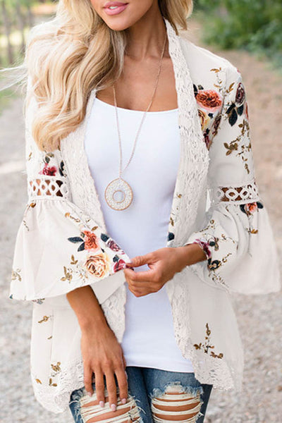 Bell Sleeve Lace Floral Chiffon Cardigan