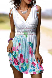 V-Neck Print Sleeveless Dress