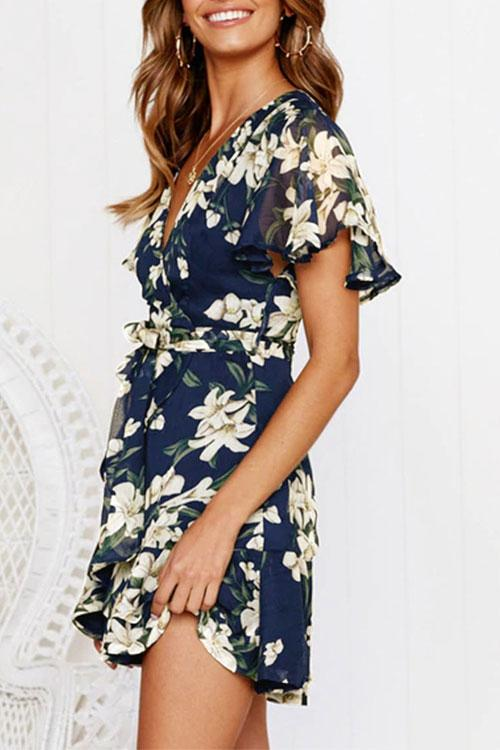 Belted Floral Print Mini Dress
