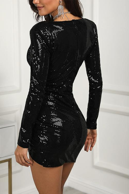 Sequin Deep V-Neck Wrap Irregular Party Dress