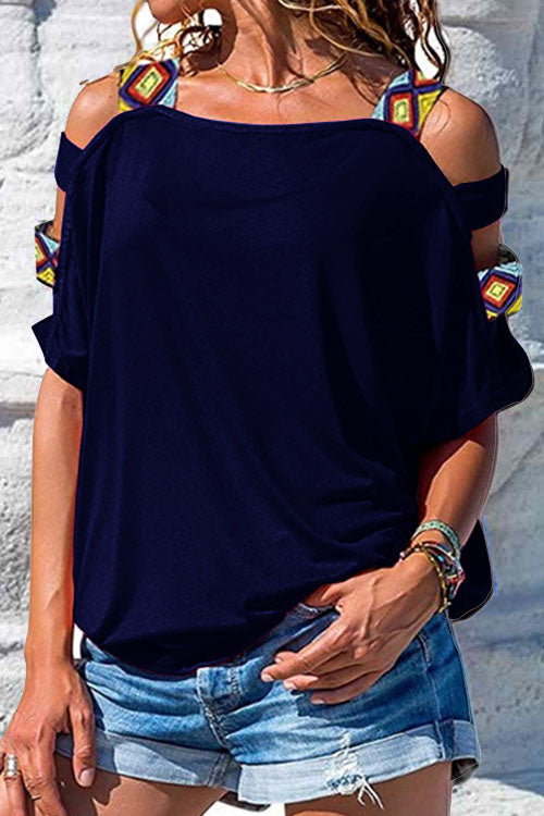 Hollow-out Shoulder Straps T-shirt