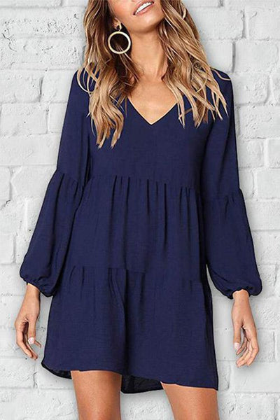 Solid Puff Sleeve Ruched Casual Dress